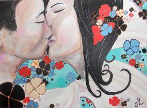 tableau-art-artiste-contemporain-le-baiser-fleurs-homme-femme
